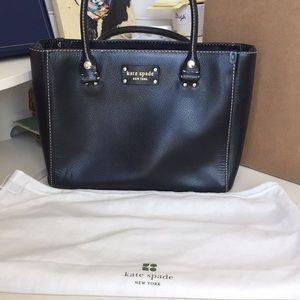 EUC Kate Spade Black Leather Tote with bag.